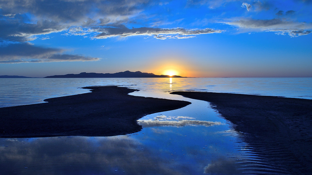 Summer solstice sunset over the Great Salt Lake