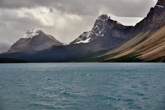 Looking Across the Turquoise Waters of Bow Lake to Bowcrow Peak and Bow Peak (Banff National Park)