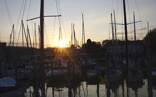 Sunset above Friedrichshafen harbour