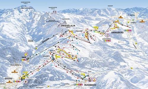 Dachstein West - mapa sjezdovek