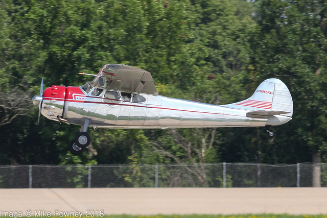 N9857A - 1950 build Cessna 195 Businessliner, arriving on Runway 36R at Oshkosh during Airventure 2018