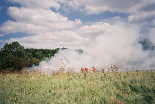 Battling a grass fire, Sea Mills | by knautia