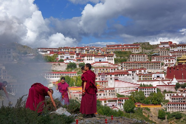 Ceremony at the Ganden Monastery, Tibet 2017