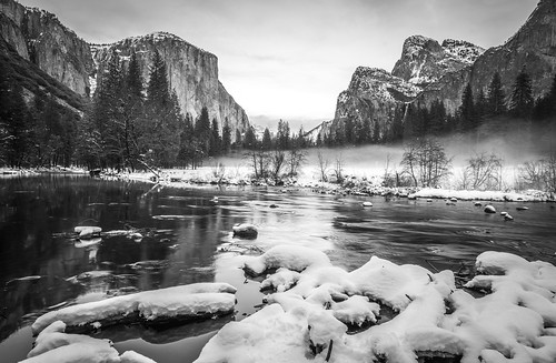 Black & White Yosemite Fine Art Photography! Yosemite National Park Winter Snow Landscape! Valley View Merced River El Capitan! Sony A7R II Mirrorless & Carl Zeiss Vario-Tessar T* FE 16-35mm F4 ZA OSS Lens SEL1635Z! Scenic Yosemite California Sunset Dusk | by 45SURF Hero's Odyssey Mythology Landscapes & Godde