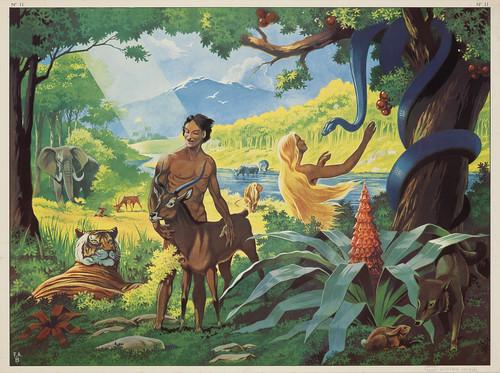 Tableau mural. N°11. Adam et Eve au jardin d'Eden, vers 19 ...