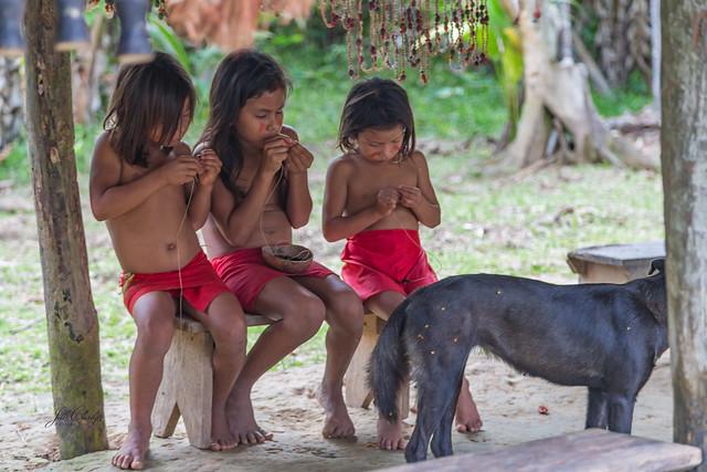 Children of the Yaqua Tribe on the Amazon River, Peru