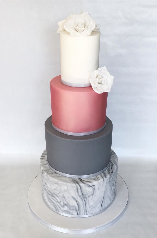A Beautiful Modern 4 Tier Wedding Cake With Handmade Suga Flickr