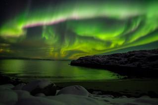 Aurore boréale, orage magnétique. Janvier 2016 a Hammerfest.