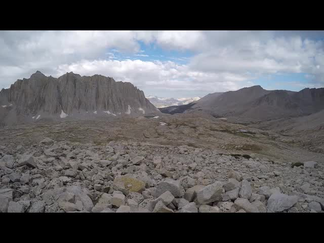 1315 GoPro panorama video from the John Muir Trail on the switchbacks below Trail Crest