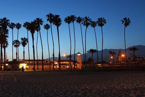 santa barbara sunset stearns wharf june 2018 ca california pacific ocean palm trees beach silhouette blue hour