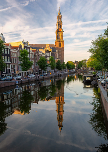 europe europe2018 vacation amsterdam canals reflection reflections church netherlands travel canal morning