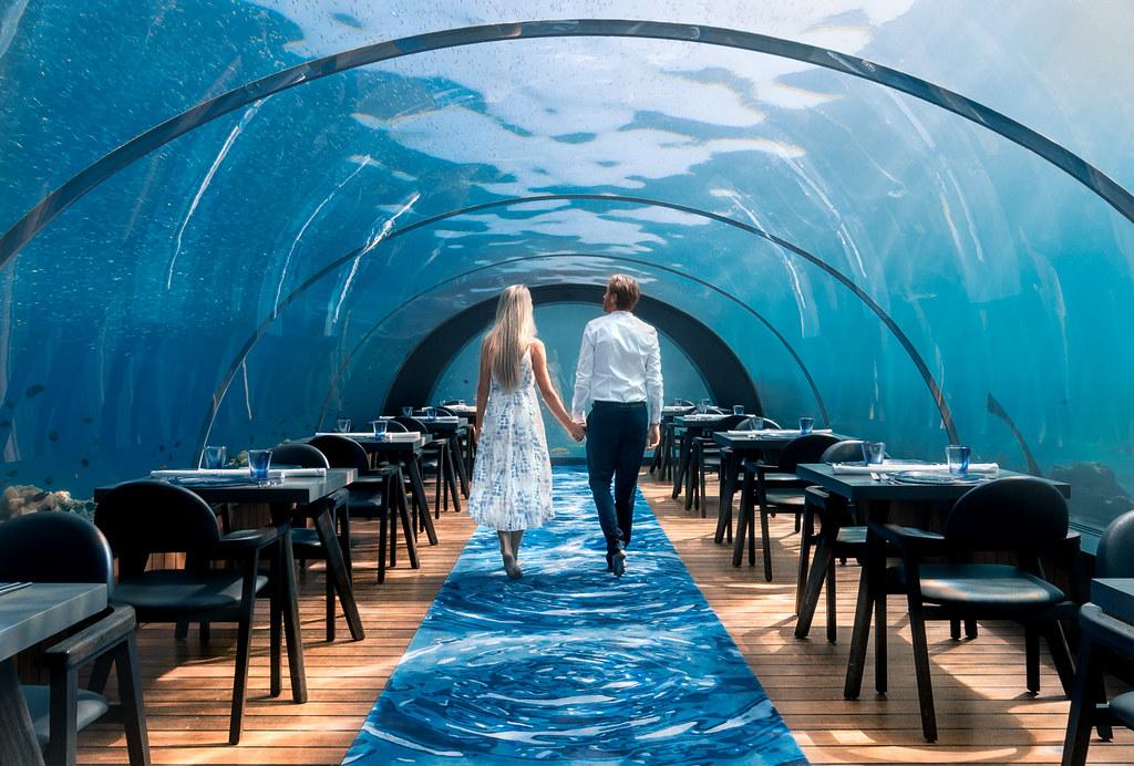 Underwater restaurant in Maldives