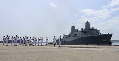 Members of the Sri Lanka Navy band welcome USS Anchorage (LPD 23) as the amphibious transport dock ship arrives for a port visit. (U.S. Embassy Sri Lanka photo)