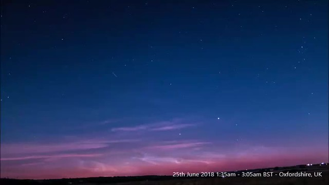 Noctilucent Cloud Timelapse Compilation 24th/25th June 2018