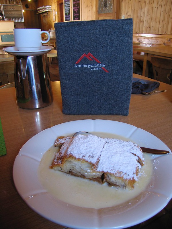 Accommodation is a mix of hotels and mountain huts. To dispel the notion that huts are uncomfortable, here is afternoon tea and strudel at one of my favourites, the Amberger.
