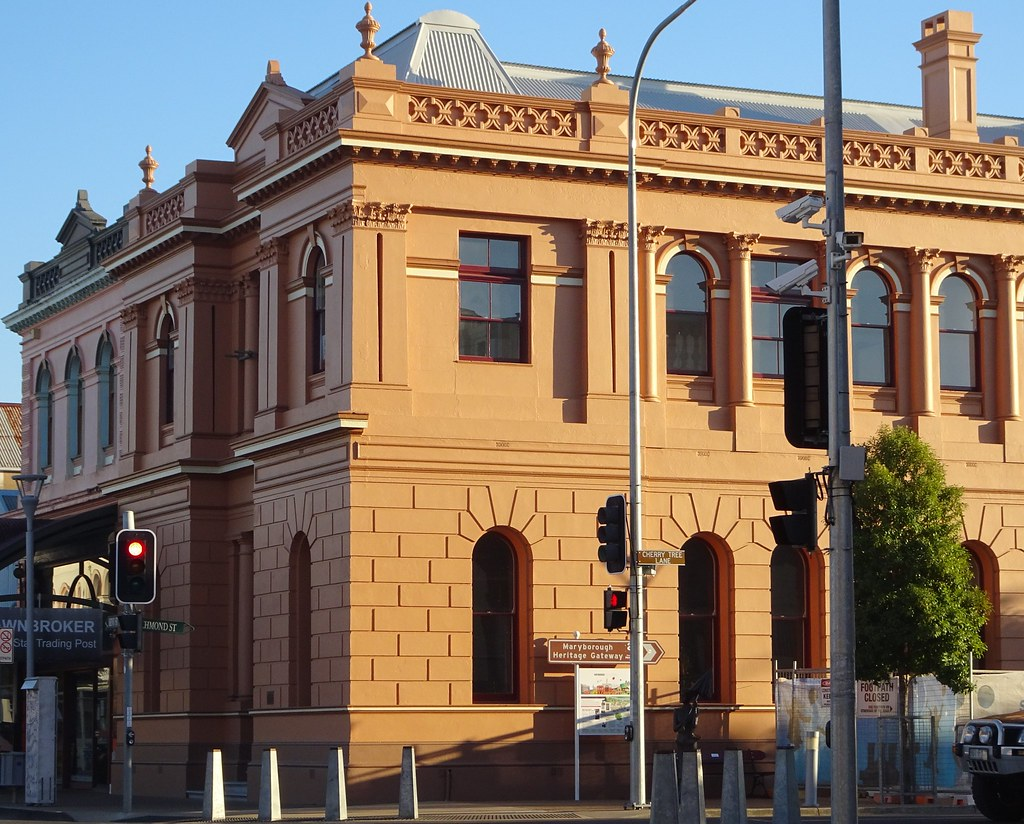 Maryborough. The former Australian Joint Stock Bank erected 1882. Author of Mary Poppins P L Travers was born inside in 1899. Soon to become an interpretive centre on Travers.