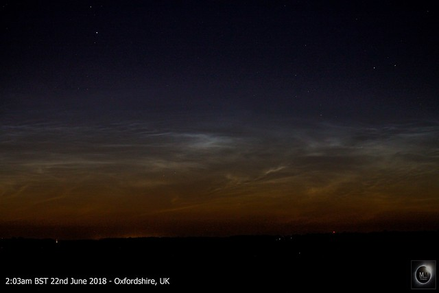 Pre-dawn Noctilucent Clouds 22/06/18