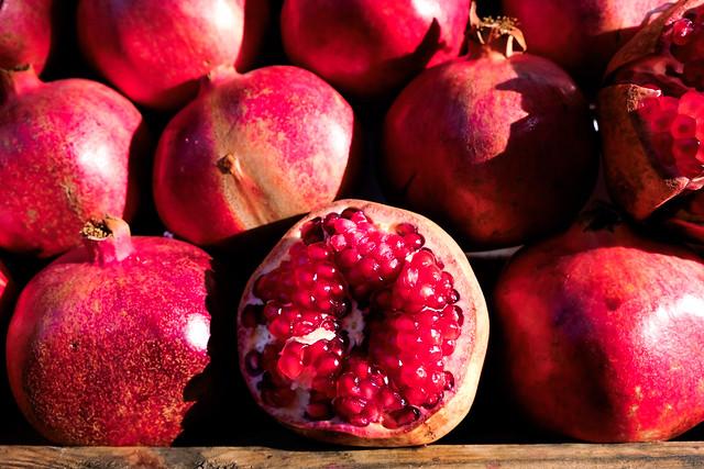 Pomegranates at farmers market