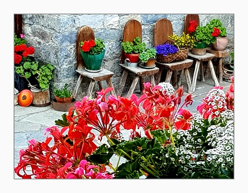 france savoie stmartindebelleville stmarcel labouitte chalet chairs rustic flowers decoration balcony planter geraniums colourful street frame flowerpots baskets panlids
