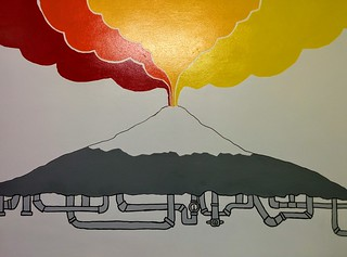 Painting of Volcán Villarrica in the Chili Kiwi hostel (art by Che Kumar) | by steve.upton