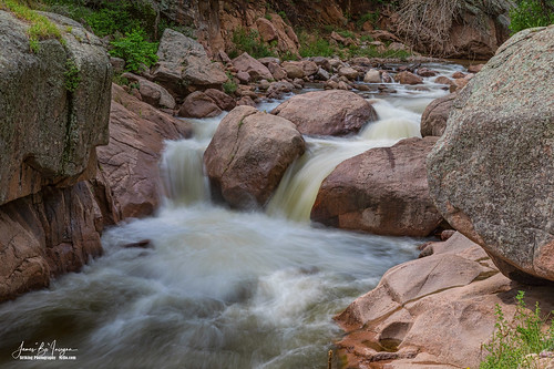 waterfall waterfalls double creek river wilderness flowing travel scenic views canyons rocks boulder nature landscapes colorado stvrain splash splashdown jamesinsogna art gallery artwork photography prints imagelicensing lyons unitedstates