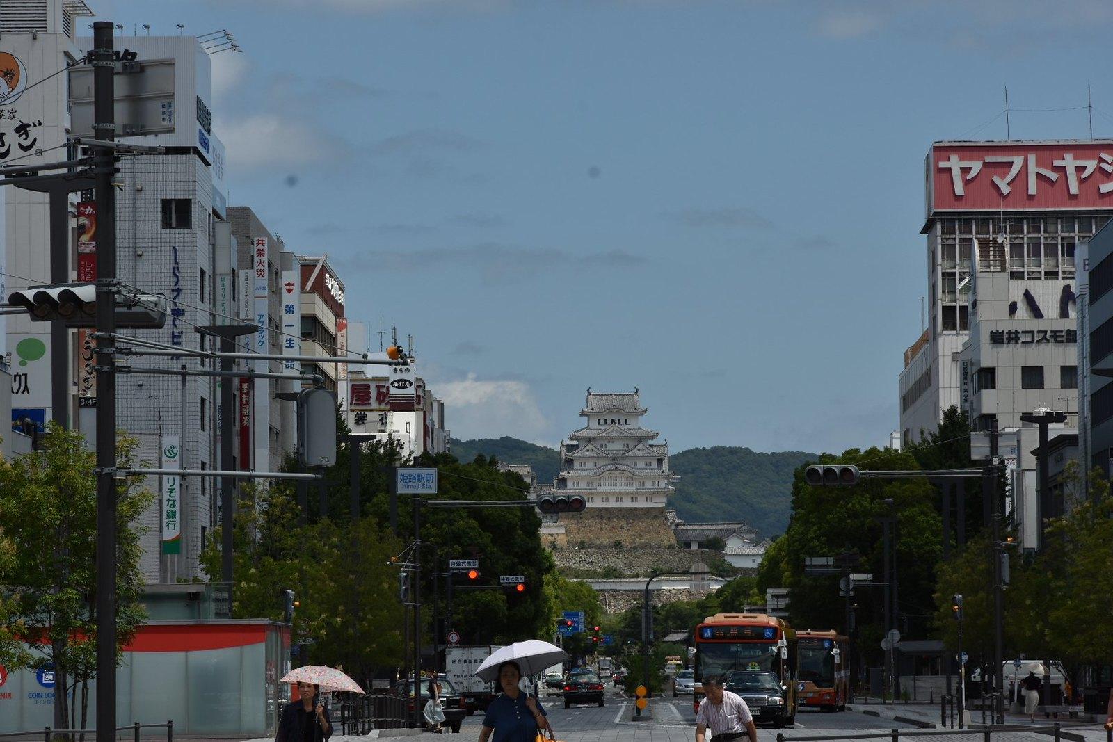 Himeji - vue depuis la sortie de la gare