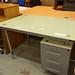 Glass top desk with ped E50