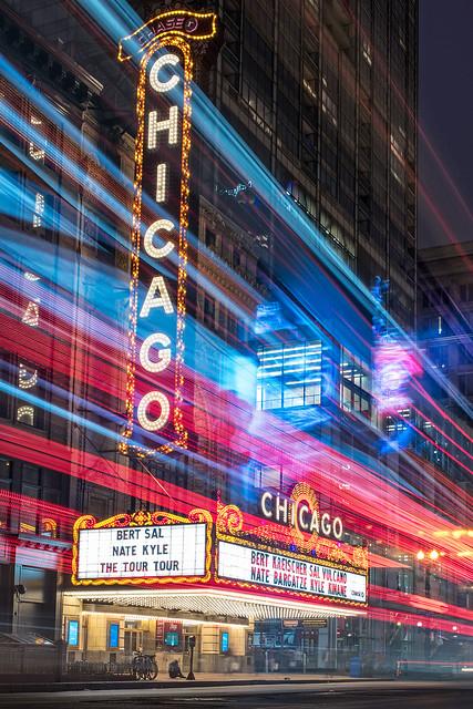 Chicago Theatre Blue Hour - Explored!