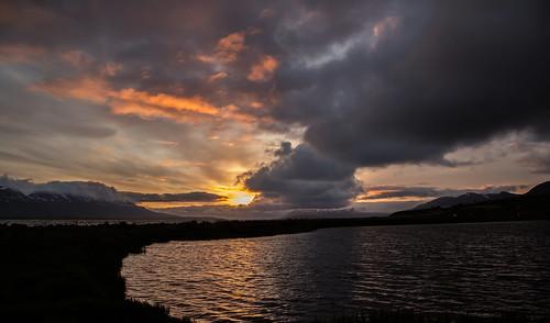 sea sky sun summer sunset nature northiceland pond svalbarðseyri svalbarðsströnd night iceland landscape