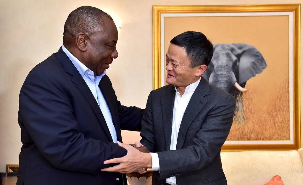 President Cyril Ramaphosa receiving a courtesy call from Mr Jack Ma, founder of the Alibaba Group