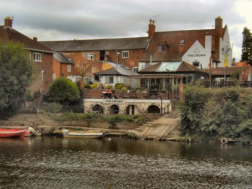 buildings publichouse pub terrace boats water river riversevern thecrown coleham shrewsbury shropshire
