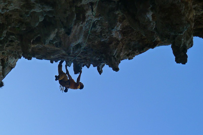 Attempting one of the harder numbers in the Grande grotte. Photo: Julie Ann Clyma