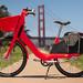 JUMP e-bike share bike with the Golden Gate Bridge in the background