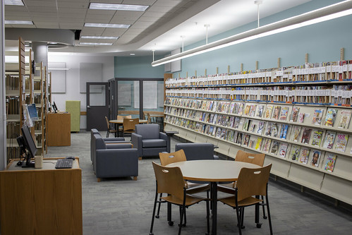 Periodicals, seating, and study room