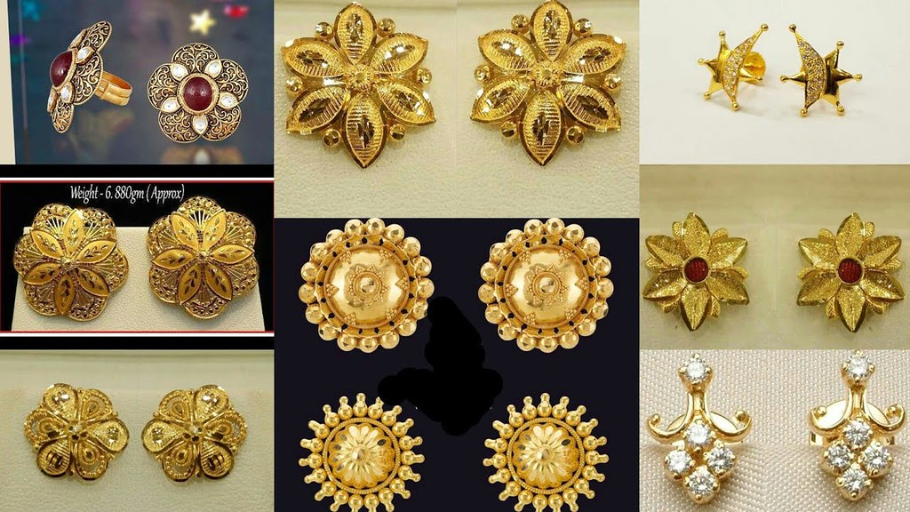 2130214a7 ... Latest Designer Gold Ear Stud // Gold Tops Designs | by The Beauty  Writer