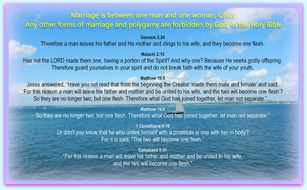 Marriage is between ONE man and ONE woman ONLY for life  P