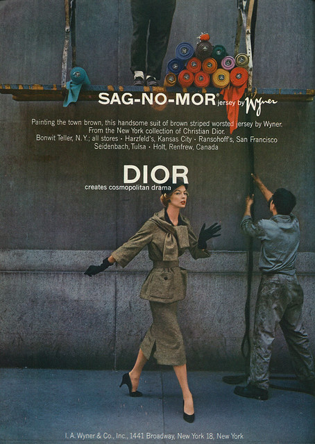 1974 Vogue Fashion Ad, Christian Dior NY Collection, Sag-No-Mor Jersey by Wyner