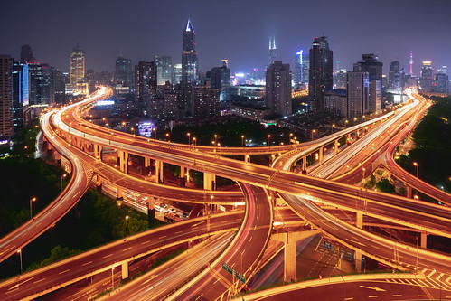 Shanghai elevated road junction and interchange overpass at night | by Patrick Foto ;)