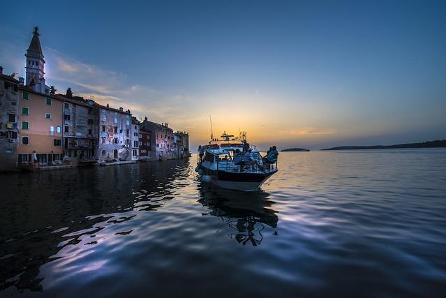 Boat arrival in Rovinj - Croatia