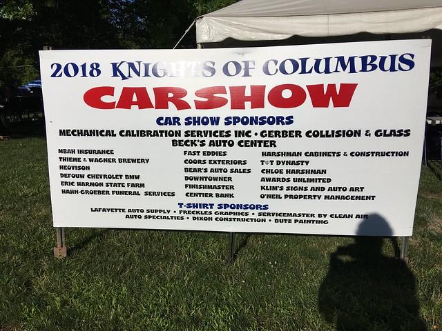 2018 K of C car show sign