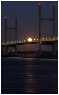 Full Moon rising over the Second Severn Crossing