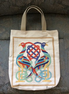 Celtic Birds Entwined Tote Bag -Brighter Colors on Off-White Cloth- | by Beelationship Embroidery Studio