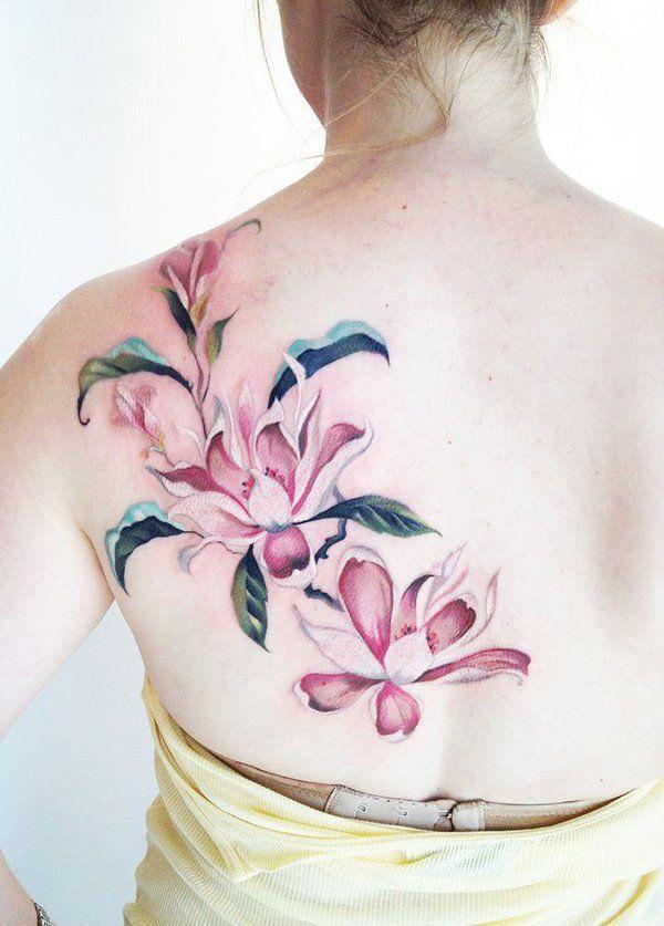 Flower Tattoos Pink Magnolia Flower Tattoo On The Back Flickr