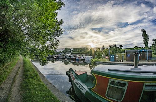 8mm barge boat canal early fisheye lancaster morning narrow reflection samyang