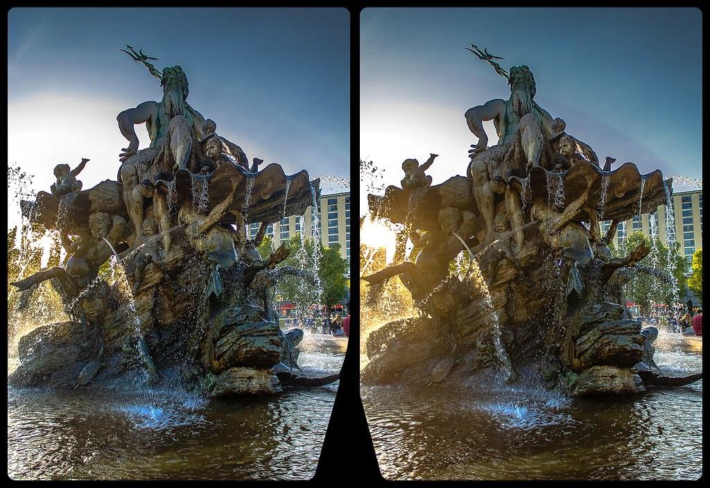 Neptun-Brunnen 3-D / CrossView / Stereoscopy / HDRaw