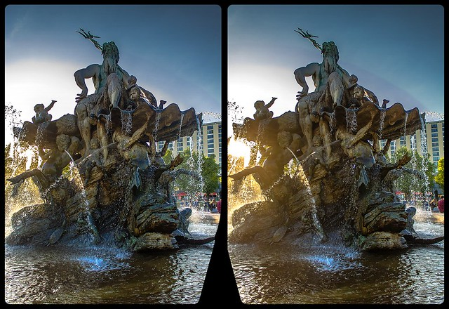 Neptun-Brunnen 3-D / CrossView / Stereoscopy / HDRaw