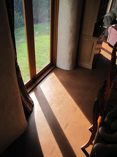 Autumn Sunlight Heating Dining Floor – Completed Strawbale House Build in Redmond Western Australia