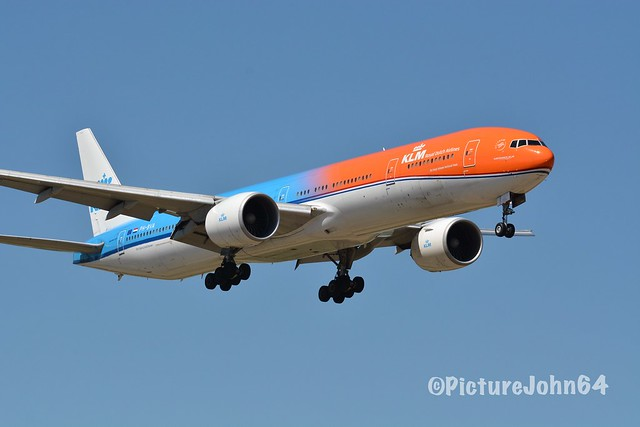"Specials: KL758 KLM Boeing 777 (PH-BVA) ""Orange Pride"" arriving from Tocumen at Schiphol Amsterdam"