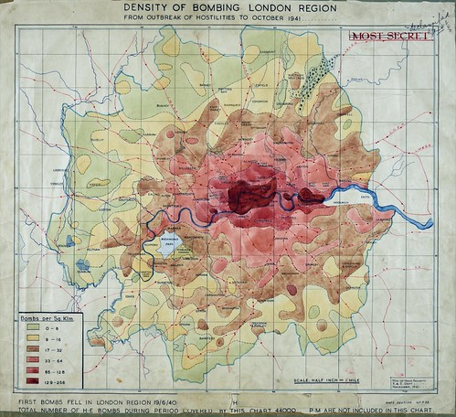 Map of the density of bombing, London region, to October 1941 (HO193/45) | by The National Archives UK