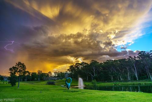 australia wolkenformation gewitter abendstimmung landscape landschaft wasser sydney macquariepark newsouthwales australien au